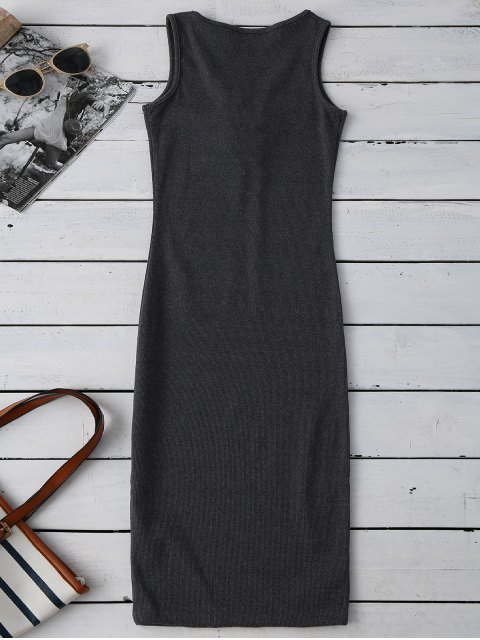 outfits Lace Up Ribbed Bodycon Dress - DEEP GRAY ONE SIZE Mobile