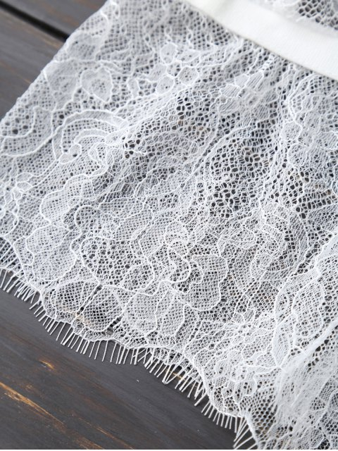 hot Scalloped Cropped Lace Tank Top - WHITE S Mobile