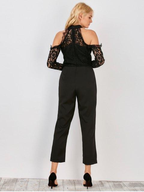 chic Lace Panel Cold Shoulder Jumpsuit - BLACK L Mobile