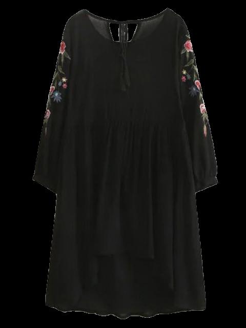 unique High Low Floral Embroidered Smock Dress - BLACK S Mobile