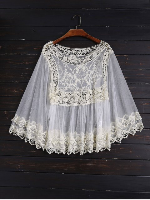 fancy Crochet and Tulle Sheer Cover Up - OFF-WHITE ONE SIZE Mobile