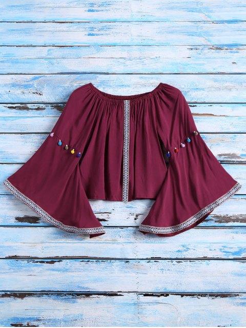 sale Belled Sleeve Off The Shoulder Top - BURGUNDY ONE SIZE Mobile