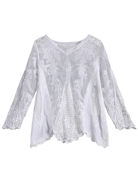buy Long Sleeves Sheer Crochet Lace Top - WHITE ONE SIZE Mobile