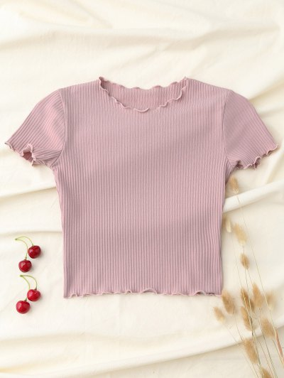 Cropped Frilled T-Shirt - Pink