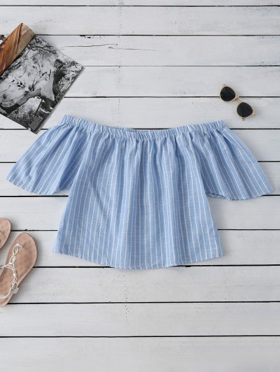 Striped Off Shoulder Blouse - Light Blue