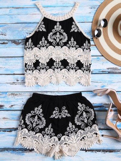 Crochet Panel Tank Top And Shorts Set - Black