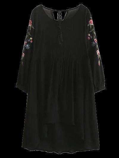 High Low Floral Embroidered Smock Dress - Black