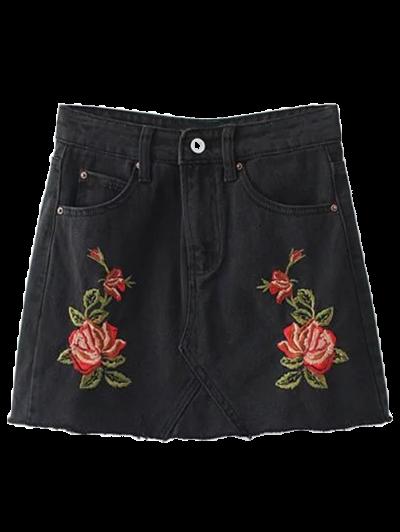 Rose Embroidered Denim Skirt - Black