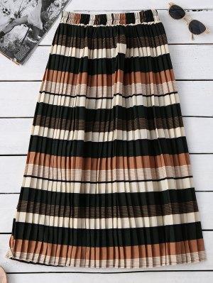 Striped Elastic Waisted Pleated Skirt