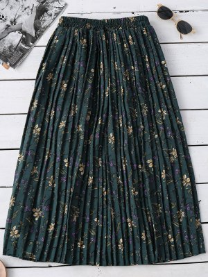 Tiny Floral Pleated Midi Skirt - Green