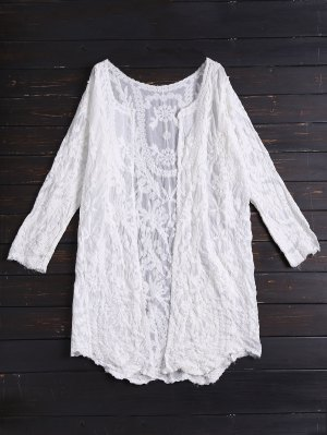 Long Sleeves Embroidered Cover Up - White