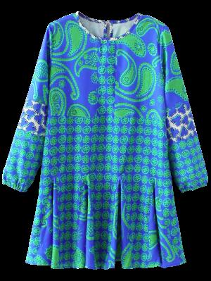 Long Sleeve Paisley Print Dress - Blue