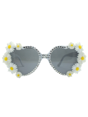 Heart Shape Sunglasses With Daisy Rhinestone - White