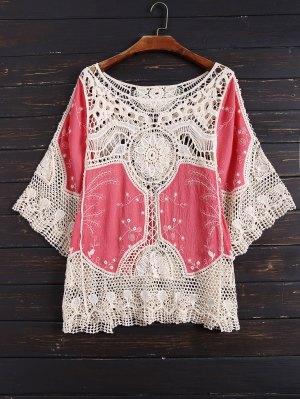 Crochet Panel See Thru Top - White And Red