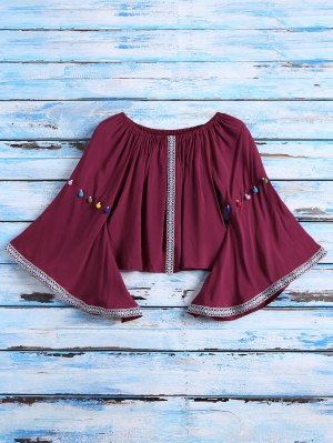 Belled Sleeve Off The Shoulder Top - Burgundy