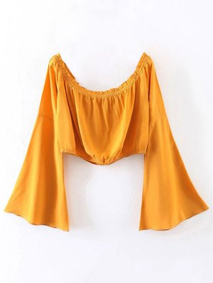 Off Shoulder Bell Sleeve Crop Top - Yellow