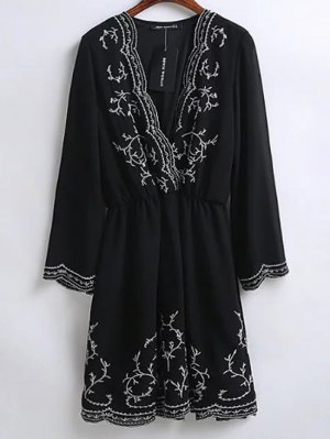 Embroidered Surplice Holiday Dress - Black