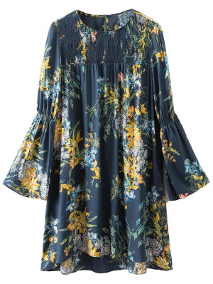 Flare Sleeve Floral Tunic Dress - Cadetblue