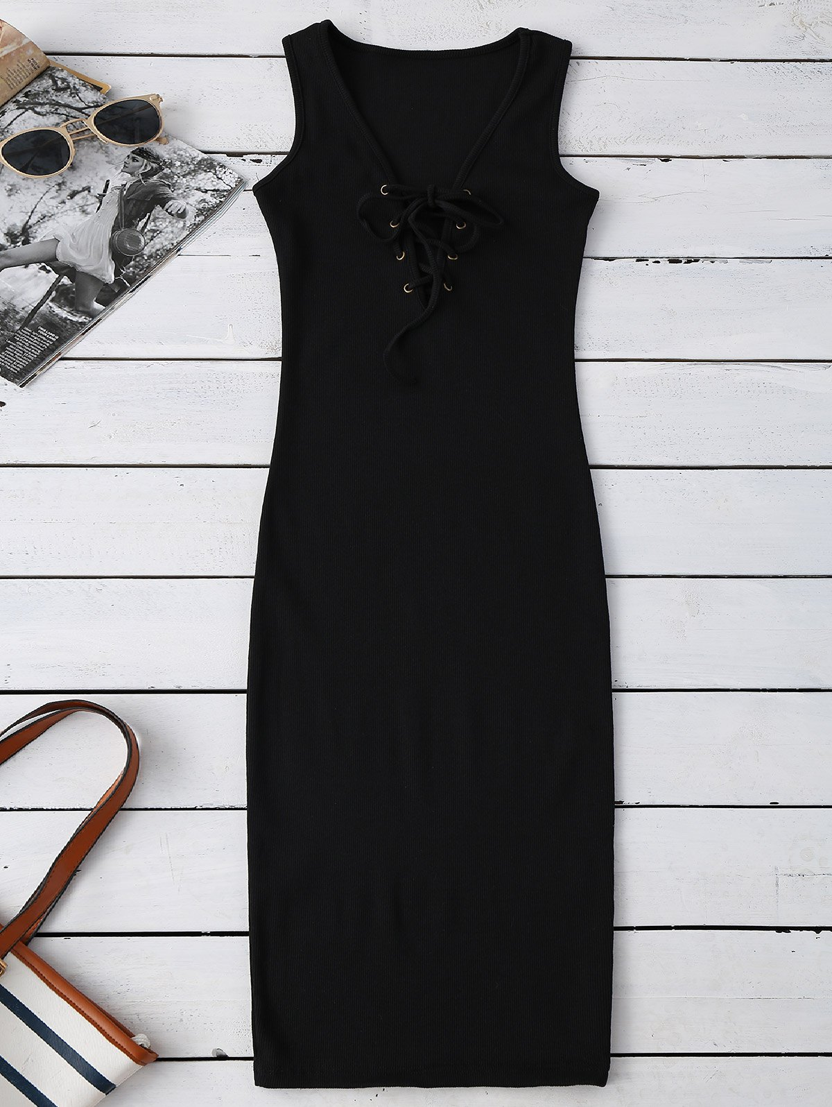Lace Up Ribbed Bodycon Dress 209531901