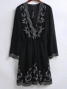 Embroidered Surplice Holiday Dress