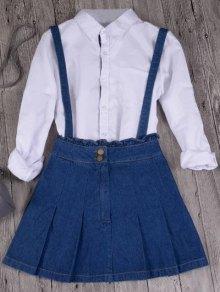Ruffles Suspender Denim Skirt - Deep Blue