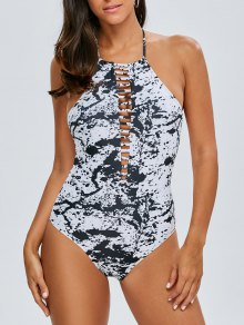 Cut Out Tie-Dyed Swimwear - White And Black