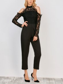 Lace Panel Cold Shoulder Jumpsuit - Black