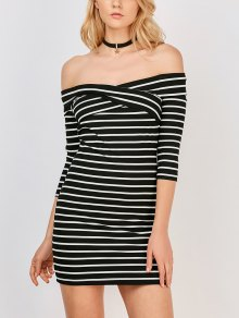 Off The Shoulder Stripe Casual Dress