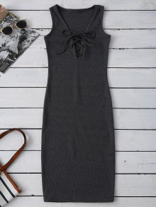 Lace Up Ribbed Bodycon Dress - Deep Gray