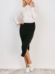 Knitted Side Button Skirt - Black