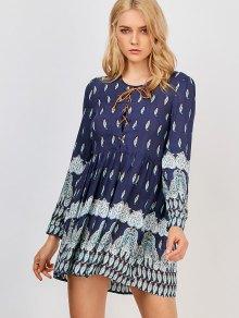 Printed Lace Up Dress - Purplish Blue M