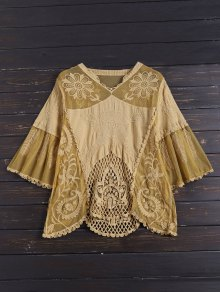 Embroidered Lace Cover Up For Swimwears - Yellow