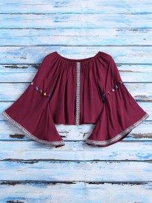Belled Sleeve Off The Shoulder Top - Burgundy