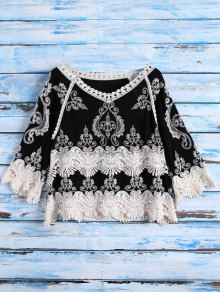 Crochet Panel Peasant Top - Black