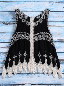 Sleeveless Cut Out Crochet Cover Up - Black