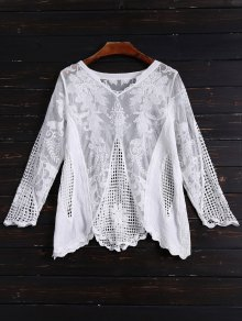 Long Sleeves Sheer Crochet Lace Top