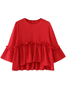 Ruffle Hem Smock Top - Red M