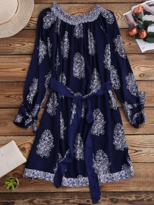 Printed Off Shoulder Belted Dress - Purplish Blue S