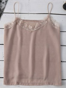 Satin Lace Trim Cami Top - Pinkbeige 2xl