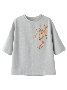 Loose Fitting Floral Embroidered Sweatshirt - Gray
