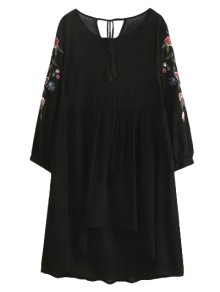 High Low Floral Embroidered Smock Dress