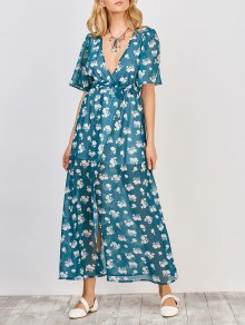 Floral Wrap Maxi Dress - Blue Green M