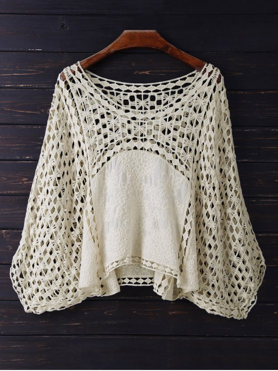 Crochet Dolman Top - BEIGE ONE SIZE Mobile