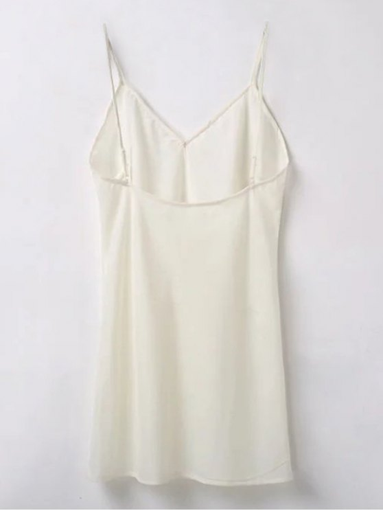 Embroidered Smock Dress With Slip Dress - OFF WHITE S Mobile