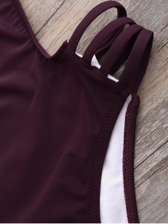 High Cut One-Piece Swimwear - WINE RED M Mobile