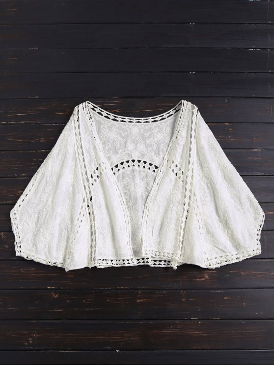 Open Front Batwing Cover Up - OFF-WHITE ONE SIZE Mobile