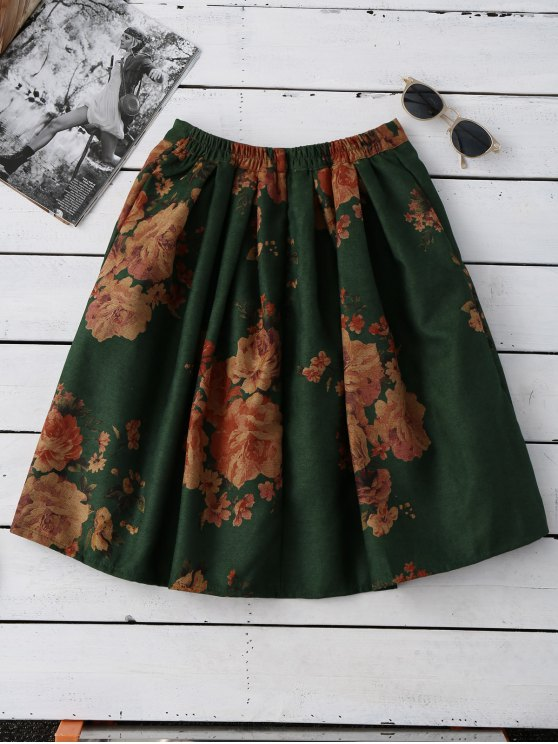 Flower Knee Length A-Line Skirt - GREEN ONE SIZE Mobile
