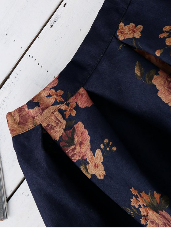 Knee Length Floral A-Line Skirt - PURPLISH BLUE ONE SIZE Mobile