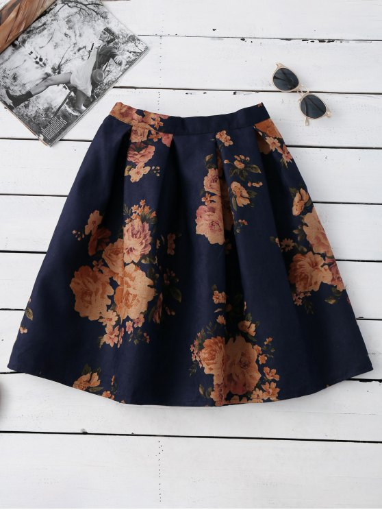 latest Knee Length Floral A-Line Skirt - PURPLISH BLUE ONE SIZE