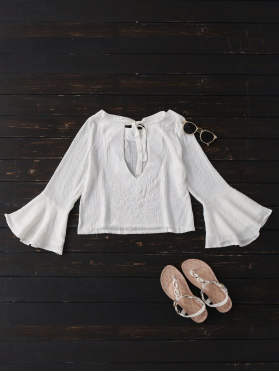 Tied Flare Sleeve Linen Blouse - WHITE S Mobile